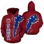 Made By Samoa Hoodie Polynesian with Red color - Front and Back - For Men and Women