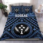 Kosrae Bedding Set - Kosrae Flag In Polynesian Tatoo Style (Blue)