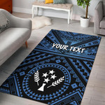 Kosrae Personalised Area Rug - Kosrae Flag In Polynesian Tatoo Style (Blue)