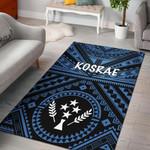 Kosrae Area Rug- Kosrae Flag In Polynesian Tatoo Style (Blue)