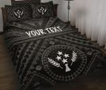 Kosrae Personalised Quilt Bed Set - Kosrae Flag In Polynesian Tatoo Style (Black)