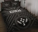 Kosrae Quilt Bed Set - Kosrae Flag In Polynesian Tatoo Style (Black)
