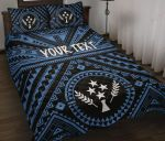 Kosrae Personalised Quilt Bed Set - Kosrae Flag In Polynesian Tatoo Style (Blue)