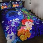 Federated States of Micronesia Quilt Bed Set - Humpback Whale with Tropical Flowers (Blue)
