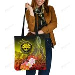 Federated States of Micronesia Tote Bags - Humpback Whale with Tropical Flowers (Yellow)