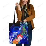 Federated States of Micronesia Tote Bags - Humpback Whale with Tropical Flowers (Blue)