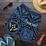Kosrae Personalised Men's Short - Kosrae Flag In Polynesian Tatoo Style (Blue)