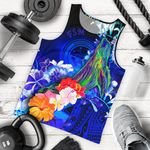 Federated States of Micronesia Men's Tank Top - Humpback Whale with Tropical Flowers (Blue)