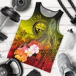 Federated States of Micronesia Men's Tank Top - Humpback Whale with Tropical Flowers (Yellow)
