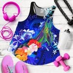 Federated States of Micronesia Custom Personalised Women's Racerback Tank - Humpback Whale with Tropical Flowers (color)