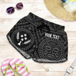 Kosrae Personalised Women's Shorts - Kosrae Flag In Polynesian Tatoo Style (Black)