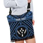 Kosrae Personalised Boho Handbag - Kosrae Flag In Polynesian Tatoo Style (Blue)