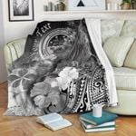 Federated States of Micronesia Custom Personalised Premium Blanket - Humpback Whale with Tropical Flowers (White)- BN18