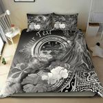 Federated States of Micronesia Custom Personalised Bedding Set - Humpback Whale with Tropical Flowers (White)- BN18