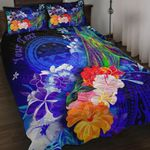 Federated States of Micronesia Custom Personalised Quilt Bed Set - Humpback Whale with Tropical Flowers (Blue)- BN18