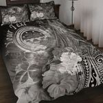 Federated States of Micronesia Custom Personalised Quilt Bed Sets - Humpback Whale with Tropical Flowers (White)- BN18