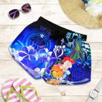 Federated States of Micronesia Custom Personalised Women's Shorts - Humpback Whale with Tropical Flowers (Blue)