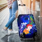 Federated States of Micronesia Custom Personalised Luggage Covers - Humpback Whale with Tropical Flowers (Blue)- BN18