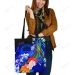 Federated States of Micronesia Custom Personalised Tote Bags  - Humpback Whale with Tropical Flowers (Blue)- BN18