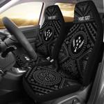 Kosrae Personalised Car Seat Covers - Kosrae Flag In Polynesian Tatoo Style (Black)