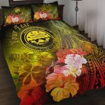 Federated States of Micronesia Custom Personalised Quilt Bed Set - Humpback Whale with Tropical Flowers (Yellow)- BN18