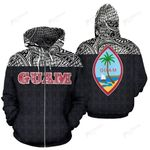 Guam All Over Print Zip-Up Hoodie | Polynesian Black Hoodie Version