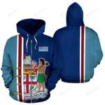 Fiji Flag And Coat Of Arms Zip Up Hoodie - Blue Color