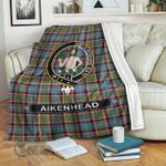 1stScotland Premium Blanket - Aikenhead Tartan Crest Blanket A7