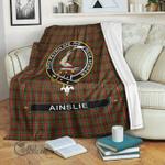 1stScotland Premium Blanket - Ainslie Tartan Crest Blanket A7