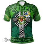1stScotland Ireland St. Patrick's Day Polo Shirt - McGrail Irish Shamrock with Claddagh Ring Cross A7