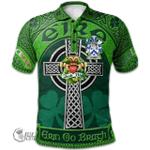 1stScotland Ireland St. Patrick's Day Polo Shirt - Ellmer Irish Shamrock with Claddagh Ring Cross A7