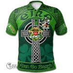 1stScotland Ireland St. Patrick's Day Polo Shirt - Worth or McWorth Irish Shamrock with Claddagh Ring Cross A7