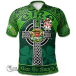1stScotland Ireland St. Patrick's Day Polo Shirt - Bergin or O'Bergin Irish Shamrock with Claddagh Ring Cross A7