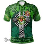 1stScotland Ireland St. Patrick's Day Polo Shirt - Meara or O'Mara Irish Shamrock with Claddagh Ring Cross A7