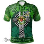 1stScotland Ireland St. Patrick's Day Polo Shirt - Conran or O'Condron Irish Shamrock with Claddagh Ring Cross A7