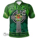 1stScotland Ireland St. Patrick's Day Polo Shirt - Edney Irish Shamrock with Claddagh Ring Cross A7