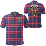 1stScotland Clothing - Graham Of Menteith Red Clan Tartan Crest Polo Shirt A7