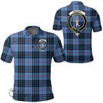1stScotland Clothing - Mackay Blue Clan Tartan Crest Polo Shirt A7