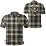 1stScotland Clothing - Menzies Black & White Ancient Clan Tartan Crest Polo Shirt A7