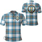 1stScotland Clothing - Stewart Muted Blue Clan Tartan Crest Polo Shirt A7