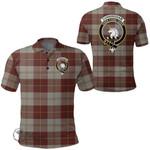 1stScotland Clothing - Cunningham Burgundy Dancers Clan Tartan Crest Polo Shirt A7