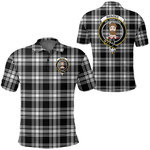 1stScotland Clothing - Menzies Black & White Modern Clan Tartan Crest Polo Shirt A7