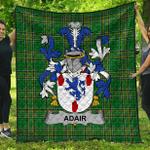 1stScotland Premium Quilt - Adair Irish Family Crest Quilt - Irish National Tartan A7