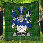 1stScotland Premium Quilt - Sheppard Irish Family Crest Quilt - Irish National Tartan A7