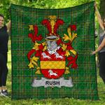 1stScotland Premium Quilt - Rush Irish Family Crest Quilt - Irish National Tartan A7