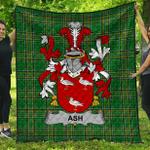 1stScotland Premium Quilt - Ash Irish Family Crest Quilt - Irish National Tartan A7