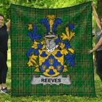 1stScotland Premium Quilt - Reeves Irish Family Crest Quilt - Irish National Tartan A7