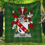 1stScotland Premium Quilt - Todd Or Tod Irish Family Crest Quilt - Irish National Tartan A7