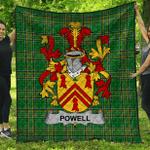 1stScotland Premium Quilt - Powell Irish Family Crest Quilt - Irish National Tartan A7