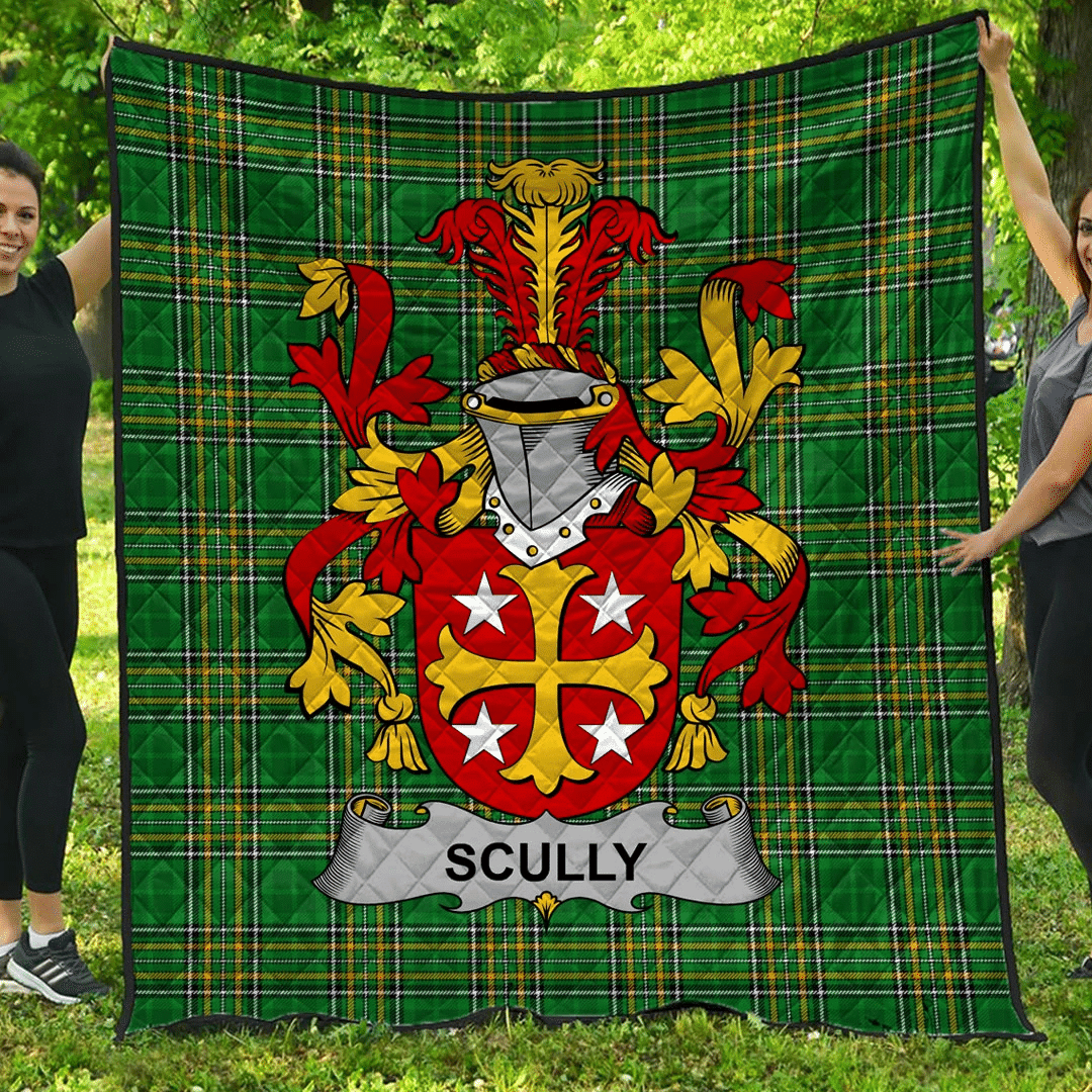 1stScotland Premium Quilt - Scully Or O'Scully Irish Family Crest Quilt - Irish National Tartan A7